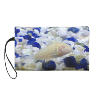 Blue and white pebbles and Albino cat fish Wristlet Purse