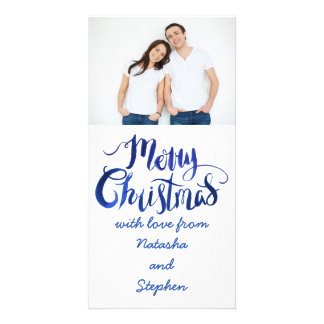 Blue and White Photo Christmas Card