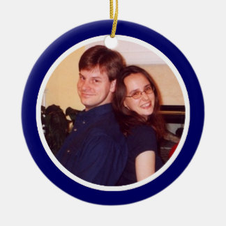 Blue and White Photo Frame - Two Sided Round Ceramic Ornament