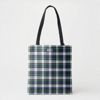 Blue and White Plaid Gordon Tartan Monogram Tote Bag