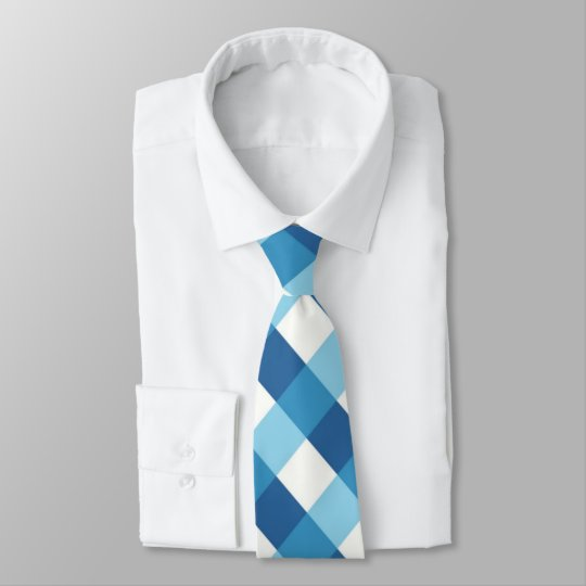 Blue and white plaid pattern tie