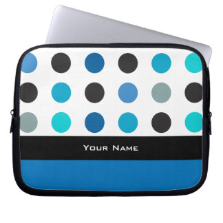 Blue and white polka dot and stripe Laptop sleeve