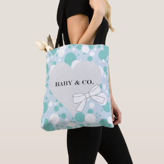 Blue And White Polka-Dot Baby Party Tote Bag