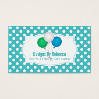 Blue And White Polka-dot: Balloons Business Cards