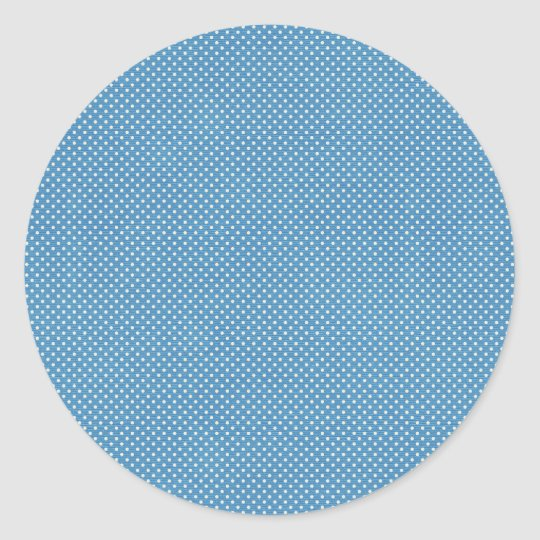 Blue and White Polka Dot Classic Round Sticker