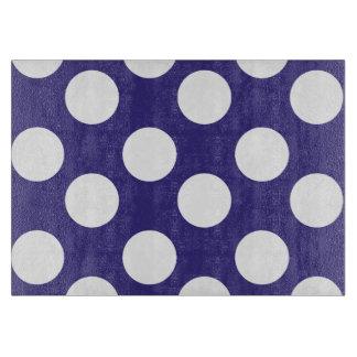 Blue and White Polka Dot Glass Cutting Board