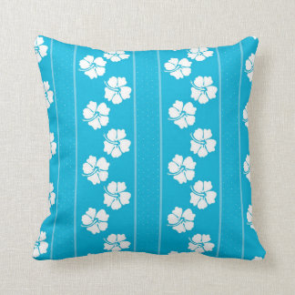 Blue and White Polka Dot Hibiscus Throw Pillow