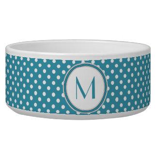 Blue and White Polka Dot Monogram Pet Bowl