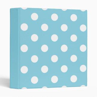 Blue and White Polka Dot Pattern Binders