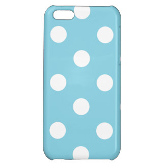 Blue and White Polka Dot Pattern iPhone 5C Cover