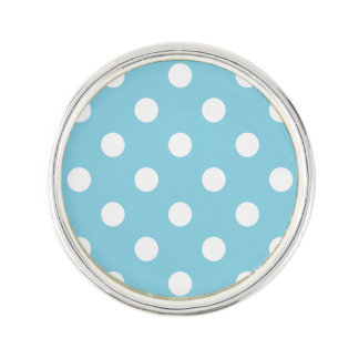Blue and White Polka Dot Pattern Lapel Pin