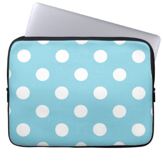 Blue and White Polka Dot Pattern Laptop Computer Sleeve
