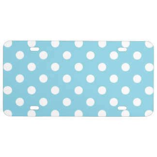 Blue and White Polka Dot Pattern License Plate