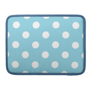 Blue and White Polka Dot Pattern MacBook Pro Sleeves