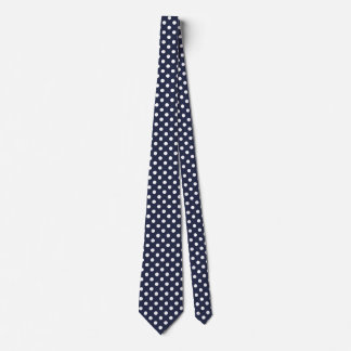 Blue and White Polka Dot Pattern Men's Tie