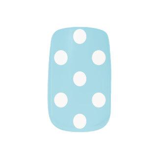 Blue and White Polka Dot Pattern Minx Nail Art