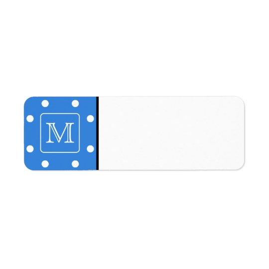 Blue and White Polka Dot Pattern Monogram. Custom.