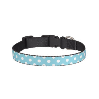 Blue and White Polka Dot Pattern Pet Collars