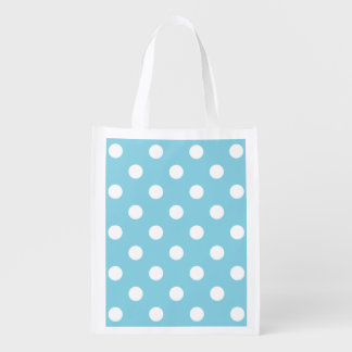 Blue and White Polka Dot Pattern Reusable Grocery Bag