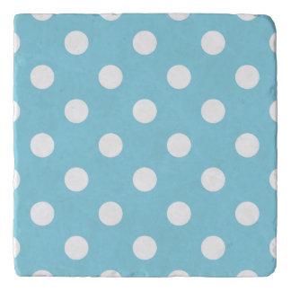 Blue and White Polka Dot Pattern Trivet