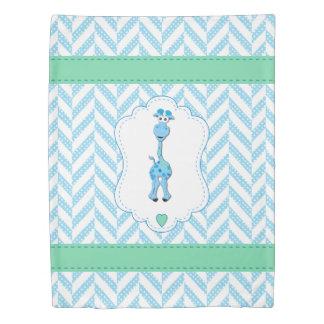 Blue and White Polka Dot Pattern with Blue Giraffe Duvet Cover