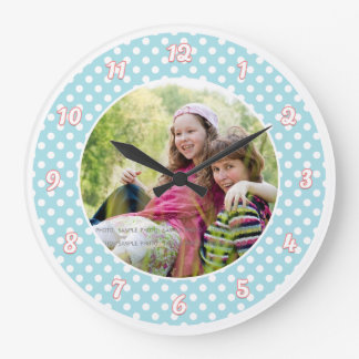 Blue and White Polka Dot Personalized Photo Large Clock
