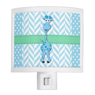 Blue and White Polka Dot with Blue Giraffe Nite Lights