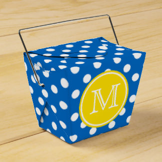 Blue and White Polka Dot With Yellow Monogram Party Favor Box