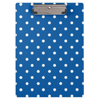 Blue and White Polka dots Clipboard