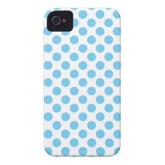 Blue and white polka dots pattern Case-Mate iPhone 4 cases