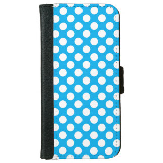 Blue and white polka dots pattern iPhone 6 wallet case