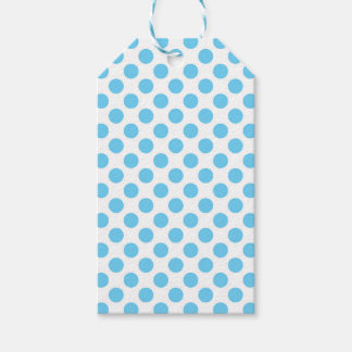 Blue and white polka dots pattern pack of gift tags