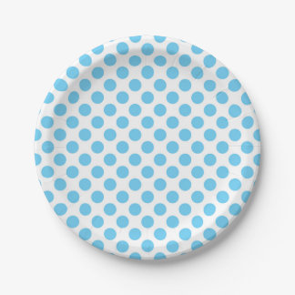 Blue and white polka dots pattern paper plate