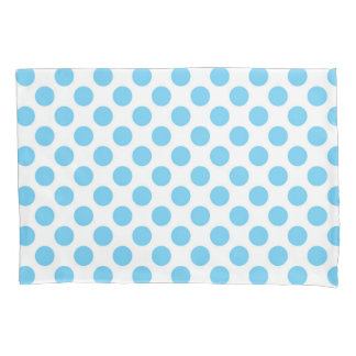 Blue and white polka dots pattern pillowcase