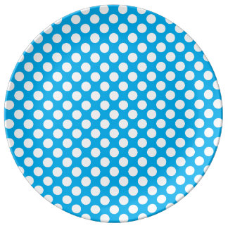 Blue and white polka dots pattern plate