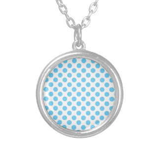 Blue and white polka dots pattern silver plated necklace