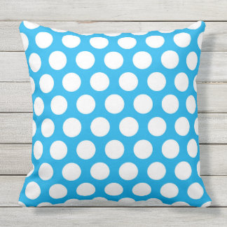 Blue and White Polka Dotted Outdoor Pillow