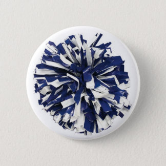 Blue and White Poms 2 Inch Round Button