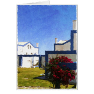 Blue and white Portuguese houses blank card