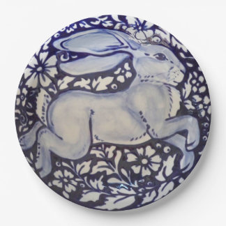 Blue and White Rabbit China Dedham Paper Plate