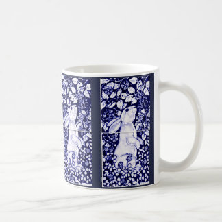 Blue and White Rabbit China Mug Tile Dedham Cobalt
