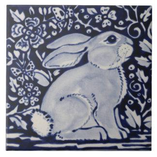 "Blue and White Rabbit Floral Designer 6"" Tile Art"