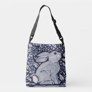 Blue and White Rabbit Floral Tote Bag Dedham Navy