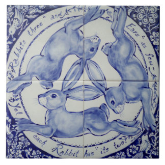 Blue and White Rabbit Hare Trio Bird Tile Trivet
