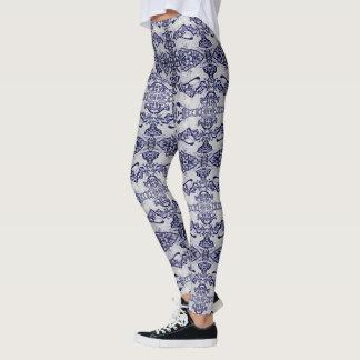 Blue and White Rabbit Pattern Women's Leggings