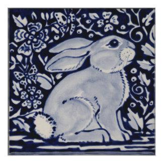 Blue and White Rabbit Poster China Dedham Tile Art