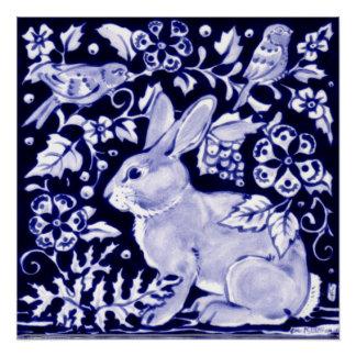 Blue and White Rabbit Poster Floral Dedham Indigo