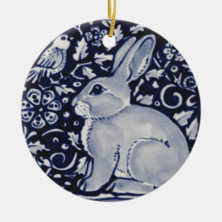 Blue and White Rabbit with Bird Tile Design Ceramic Ornament