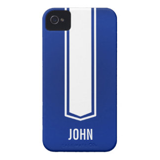 Blue and White Race Car Stripe Iphone Case