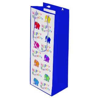 Blue and White Rainbow Cartoon Elephants Birthday Wine Gift Bag